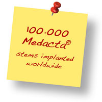 100'000 Medacta stems implanted worldwide, 70'000 are AMIS!
